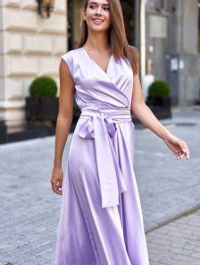 Нарядное сиреневое платье в пол
