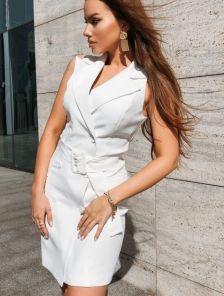 Белое короткое платье пиджак