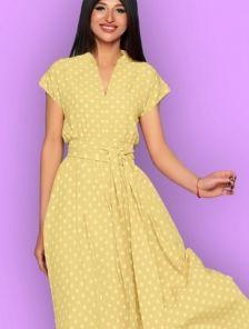 Длинное желтое платье в горох на короткий рукав