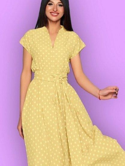 Длинное желтое платье в горох на короткий рукав, фото 1