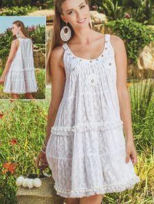 Белое летнее платье туника с вышивкой ракушками