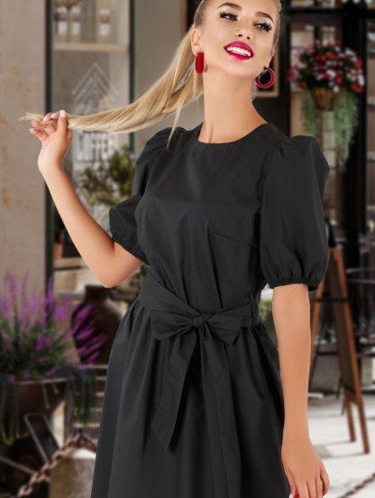 Стильное черное платье с рукавами-буффами, фото 1
