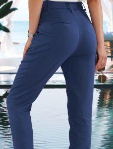 Синие женские льняные брюки с высокой посадкой и ремнем на лето