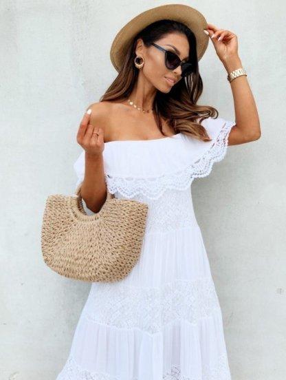 Белое длинное хлопковое платье с воланом, фото 1