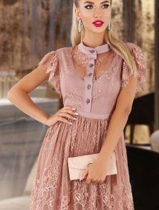 Кружевное длинное пудровое нарядное платье в пол