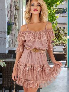 Кружевное пудровое нарядное платье