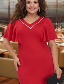 Нарядное красное платье с рукавчиками и кристаллами