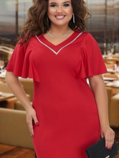 Нарядное красное платье с рукавчиками и кристаллами, фото 1