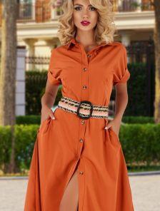 Летнее яркое платье сафари на пуговицах на короткий рукав