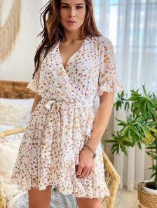 Легкое летнее шифоновое платье с рюшами на короткий рукав