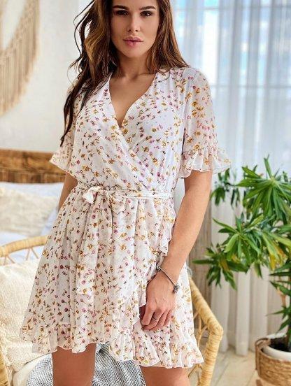 Легкое летнее шифоновое платье с рюшами на короткий рукав, фото 1