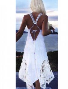Белое хлопковое летнее платье с красивой открытой спинкой