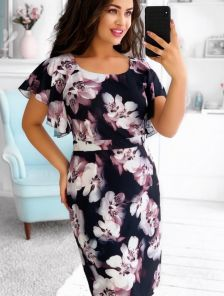 Летнее легкое платье на короткий рукав большого размера в офис