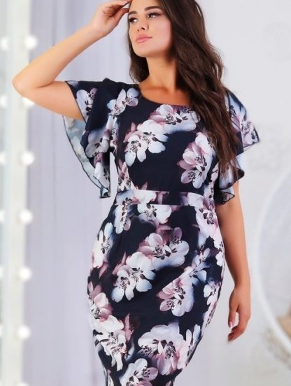 Летнее легкое платье на короткий рукав большого размера в офис, фото 1