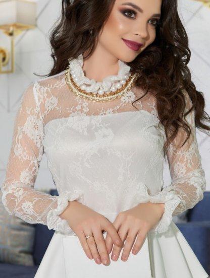 Белая блуза с кружевным рукавом и баской, фото 1