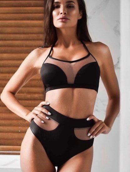 Черный стильный раздельный купальник с вставками прозрачной сетки, фото 1