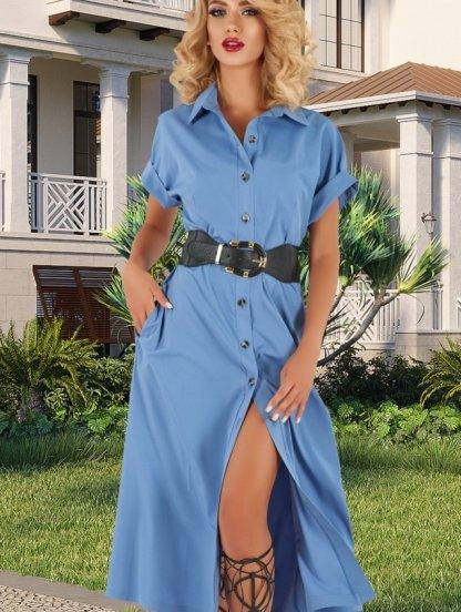 Летнее голубое платье сафари на пуговицах на короткий рукав, фото 1