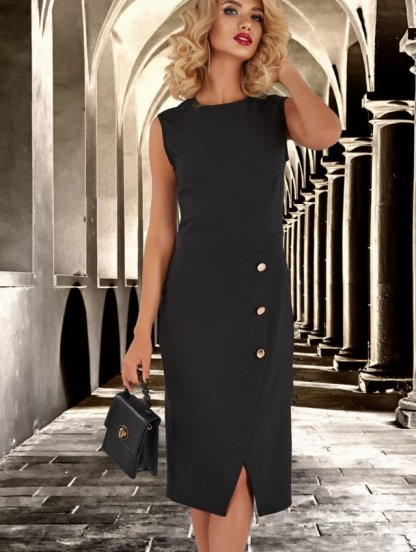 Черное платье футляр с имитацией запаха, фото 1