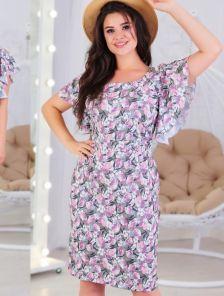 Летнее платье на короткий рукав большого размера с цветами