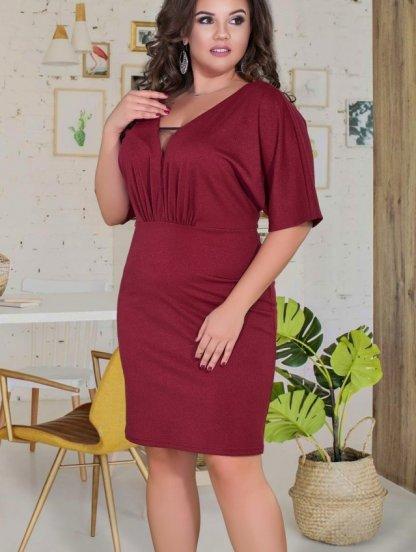 Нарядное бордовое платье с красивым декольте и рукавчиками, фото 1