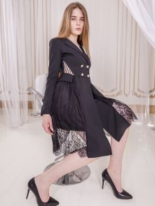 Женское черное вечернее кружевное нарядное платье