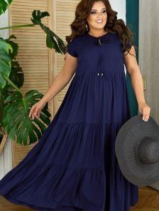 Летнее длинное свободное платье синего цвета большого размера