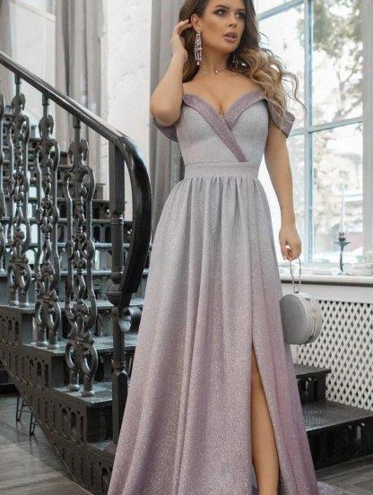 Нарядное блестящее вечернее платье с открытыми плечами, фото 1
