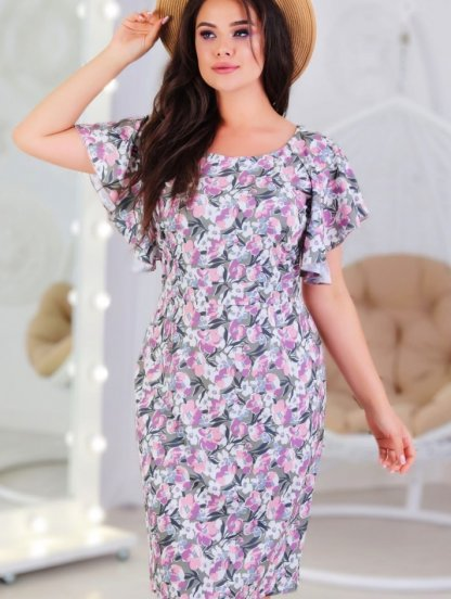 Летнее платье на короткий рукав большого размера с цветами, фото 1