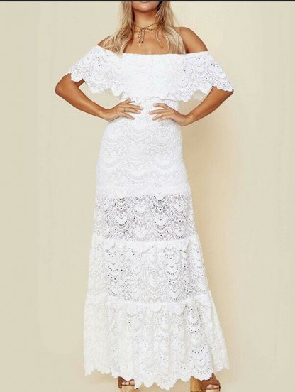 Белое длинное кружевное платье с воланом, фото 1