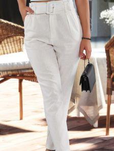Белые женские льняные брюки с высокой посадкой и ремнем на лето