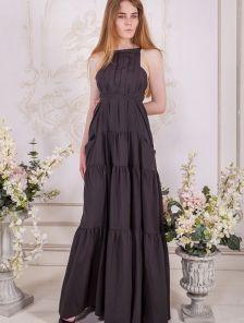 Черное летнее платье А-силуэта в пол с карманами