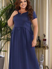 Летнее длинное платье синего цвета большого размера