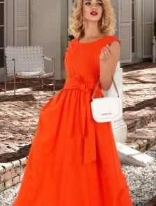 Летнее яркое длинное расклешенное платье из льна с открытой спиной