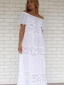 Белое длинное хлопковое платье с воланом