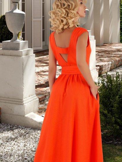 Летнее яркое длинное расклешенное платье из льна с открытой спиной, фото 1