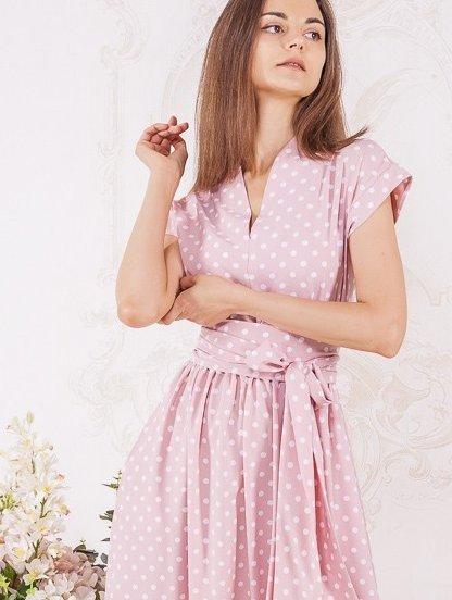 Длинное розовое платье в горох на короткий рукав, фото 1