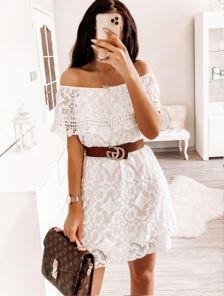 Белое короткое хлопковое платье с кружевом на подкладке