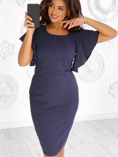 Летнее платье на короткий рукав большого размера в офис, фото 1