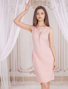 Летнее коктейльное короткое кружевное платье