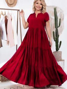 Летнее длинное свободное платье цвета марсала большого размера