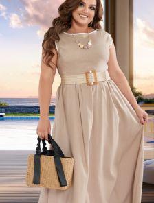 Легкое светлое длинное платье из льна на лето