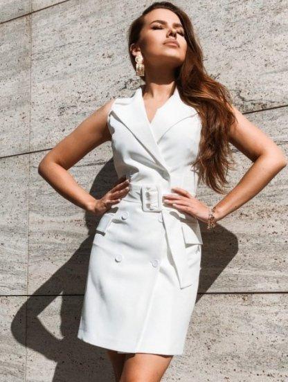 Белое короткое платье пиджак, фото 1