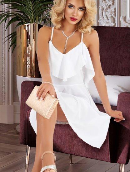 Легкое белое платье с открытой спиной и воланом, фото 1