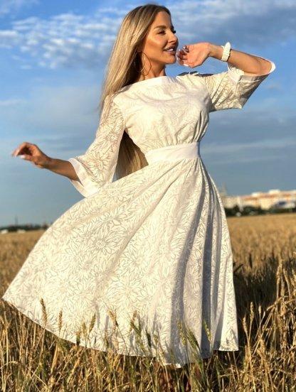 Белое нарядное платье миди с рукавом 3/4 на роспись, фото 1