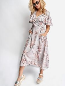 Светлое платье миди сарафан с цветочным принтом и рюшами