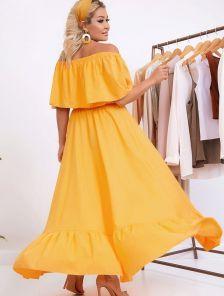 Летнее желтое нарядное длинное платье на запах на тонких бретелях