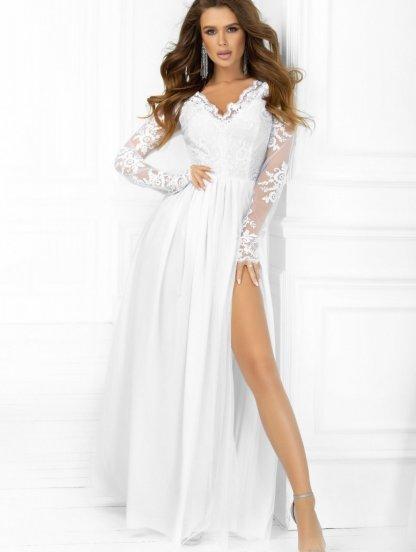 Свадебное белое кружевное платье в пол с разрезом на роспись, фото 1