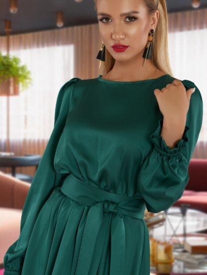 Короткое шелковое зеленое нарядное платье под пояс, фото 1