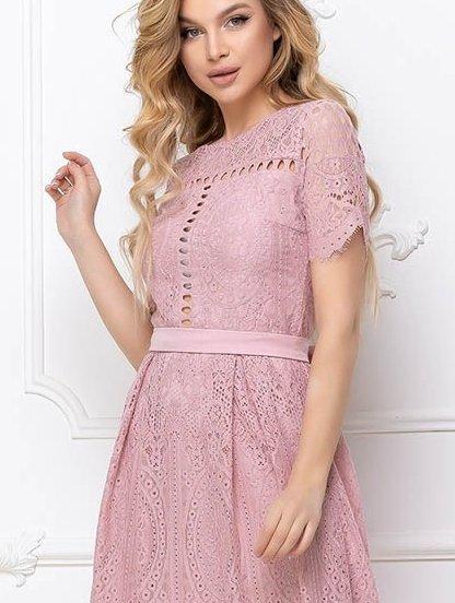 Светлое короткое кружевное платье большого размера, фото 1