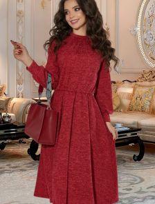 Короткое теплое платье из ангоры на длинный рукав